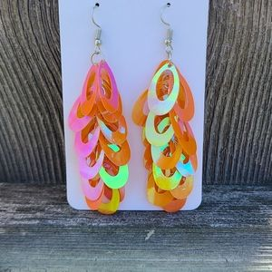 Orange Iridescent Earrings that Dangle